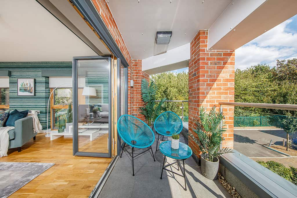 (w)The balcony area of the showhome apartment at Central Square. Call JLL o...